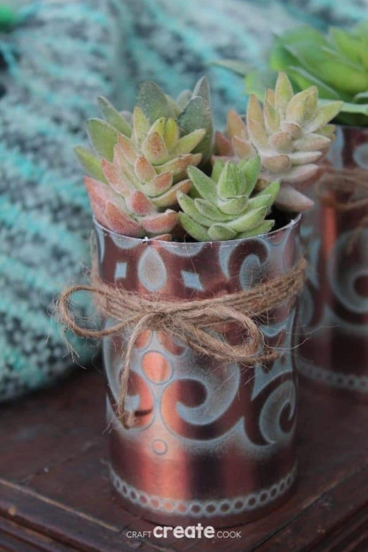 Faux copper succulent planter