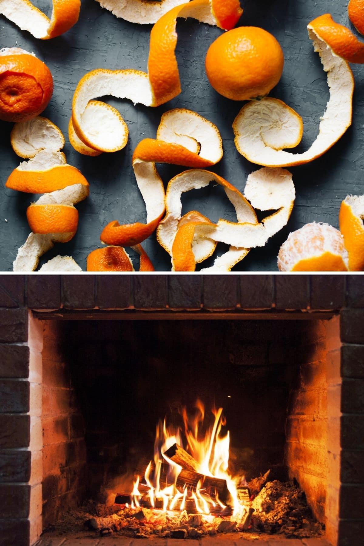 Orange peels over fireplace