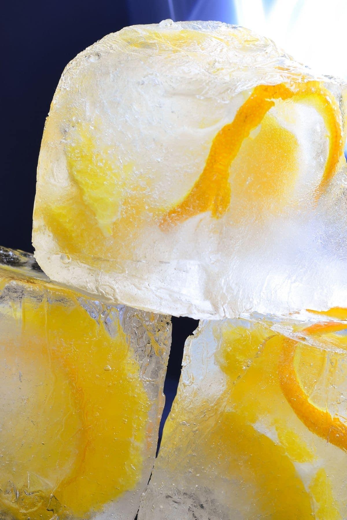 Orange peel ice cubes