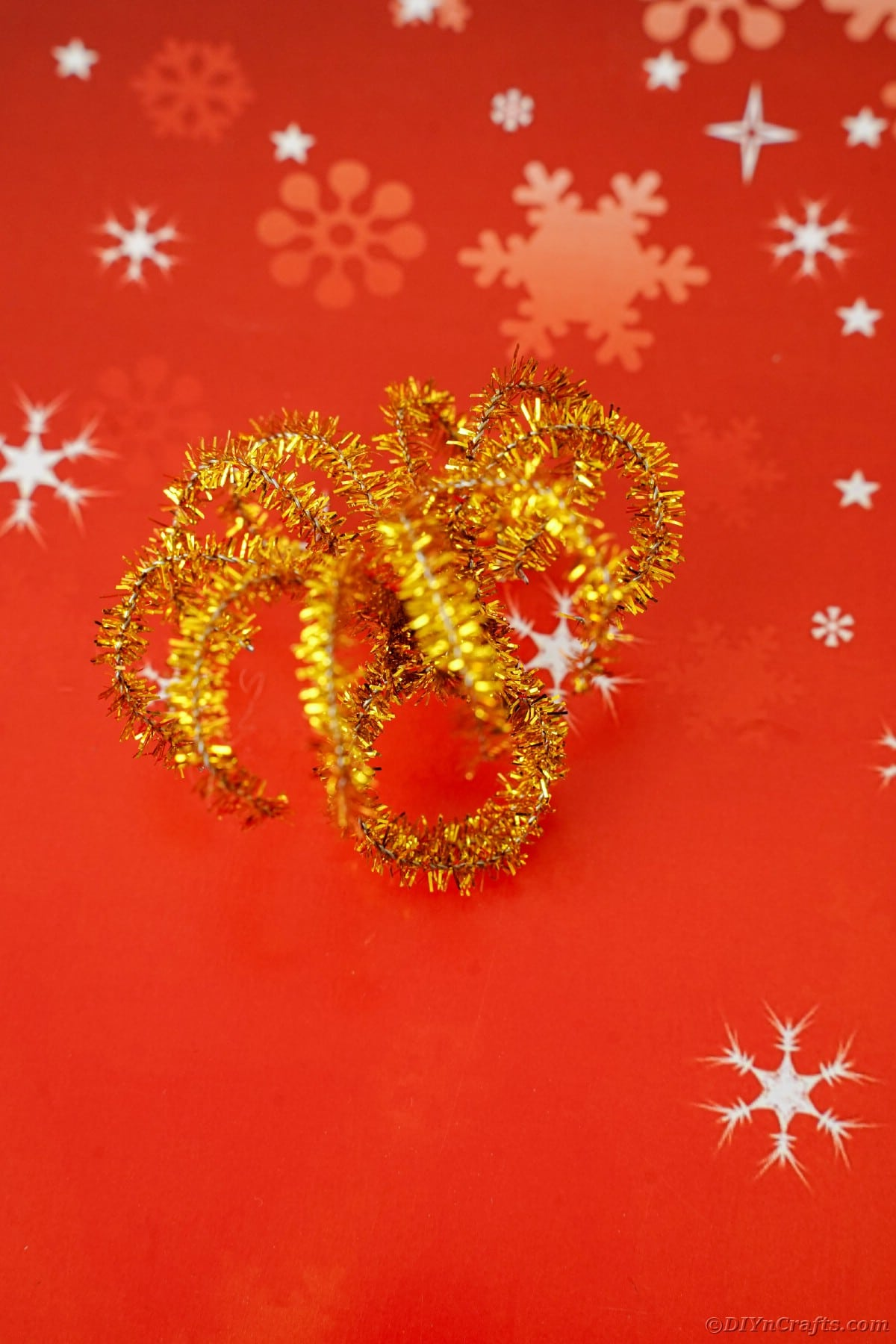 Fireworks ring on red paper
