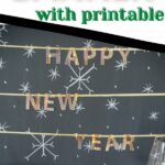 Happy New Year banner on chalkboard