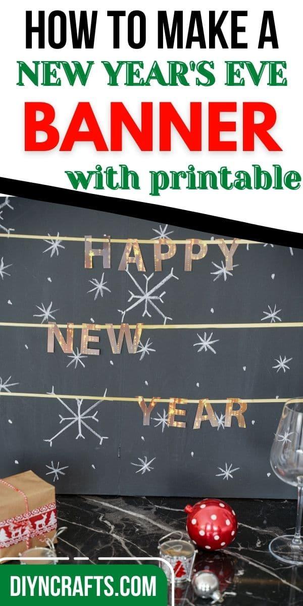 Happy New Year banner on chalkboard