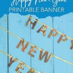 New year banner on blue wood