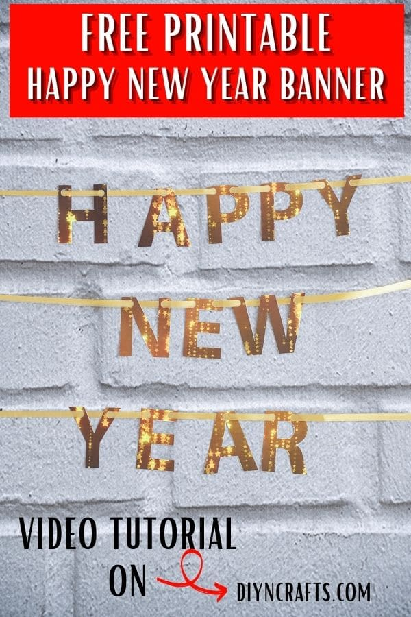 Happy New Year banner against brick wall