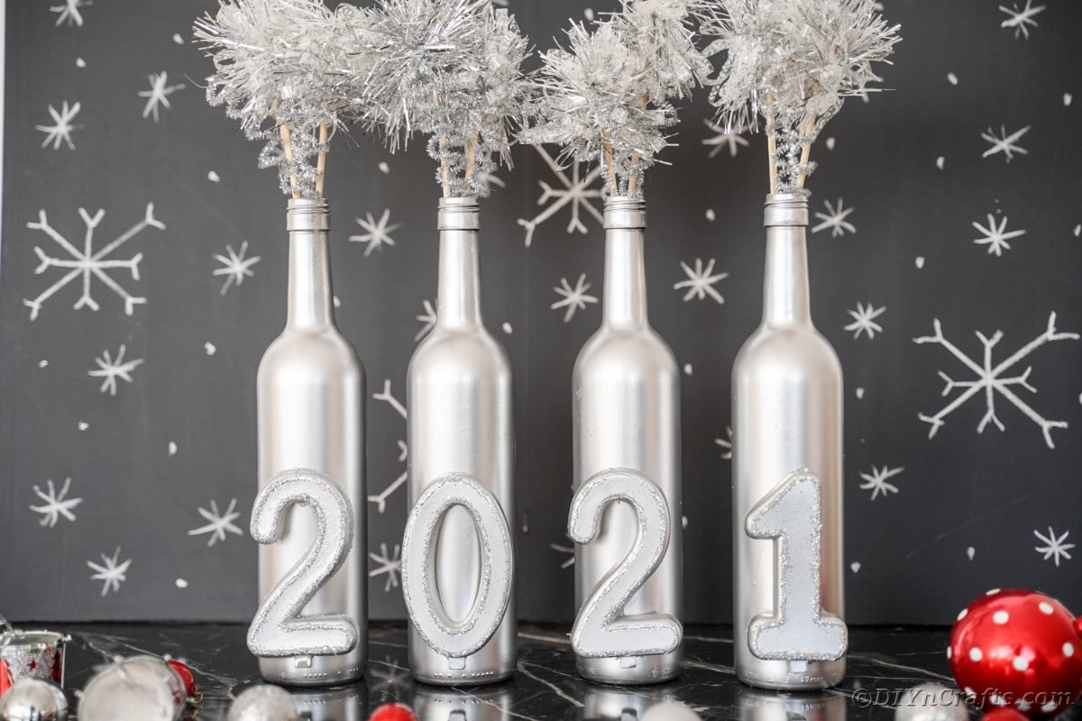 Wine bottle decoration in front of black background