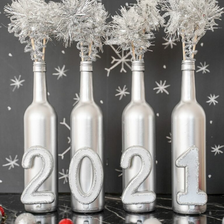 Wine bottle decoration in front of black background