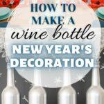 Bottiglia di vino decorazione collage di capodanno