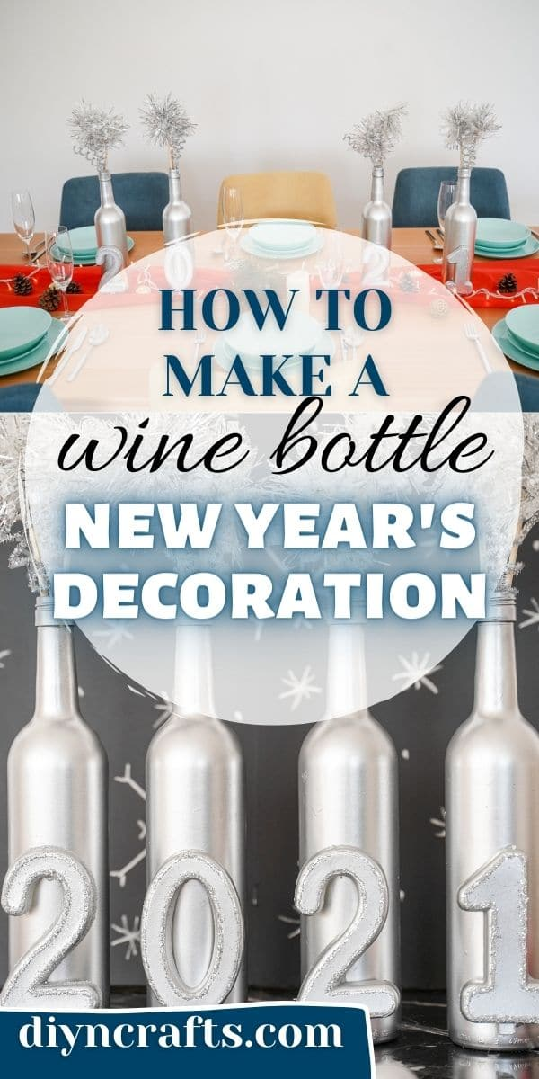 Wine bottle new year's eve decoration collage