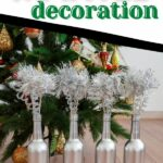 Wine bottle decoration in front of tree