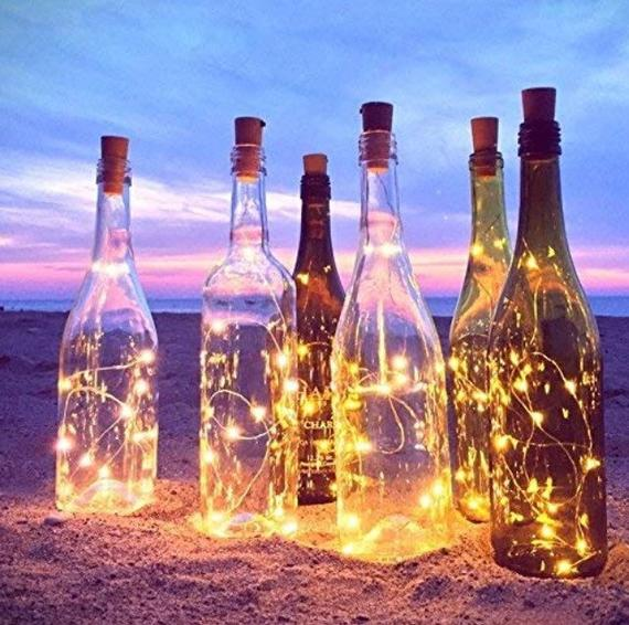 Wine bottle lights with 20 LED warm white color and cork | Etsy