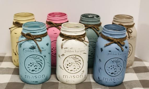 Chalk Painted Distressed Mason Jars | Etsy