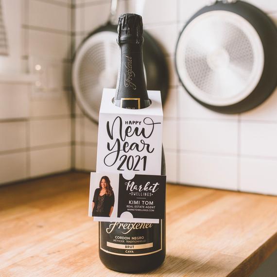Happy New Year 2021 Bottle Hang Tag Bottle Bib Insert your | Etsy