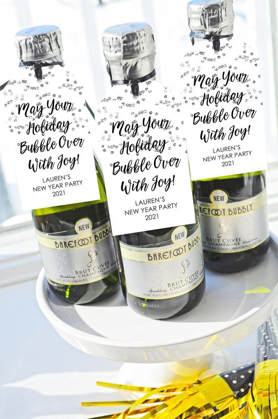 New Years Mini Wine Bottle Favor Tags Champagne Favor Tags   Etsy