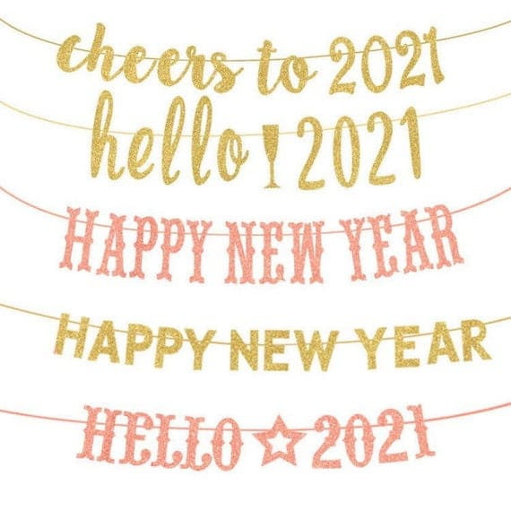 New Year Banners Fuck 2020 Hello 2021 Banner Glitter | Etsy
