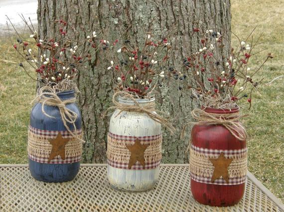 Primitive Jars-Primitive Decor-Patriotic Decorations-Americana | Etsy