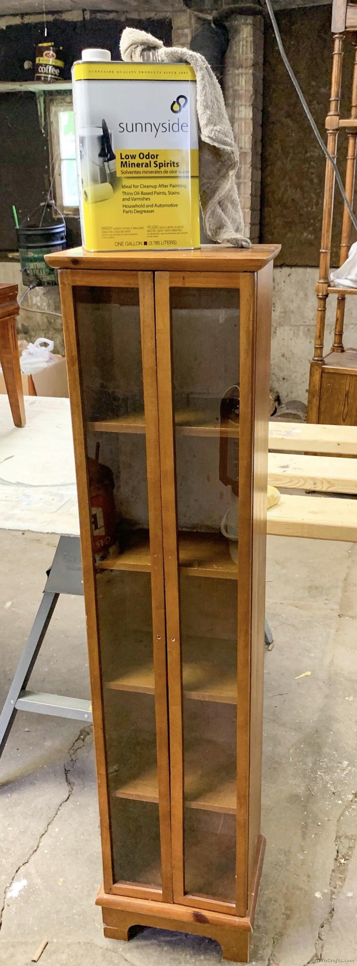 Curio cabinet before restoration