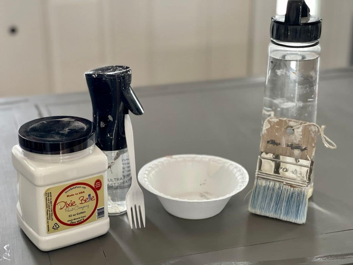 White wash supplies on desk