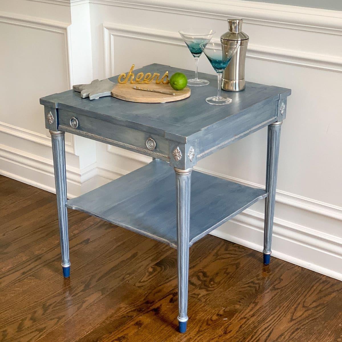 Metallic finish side table