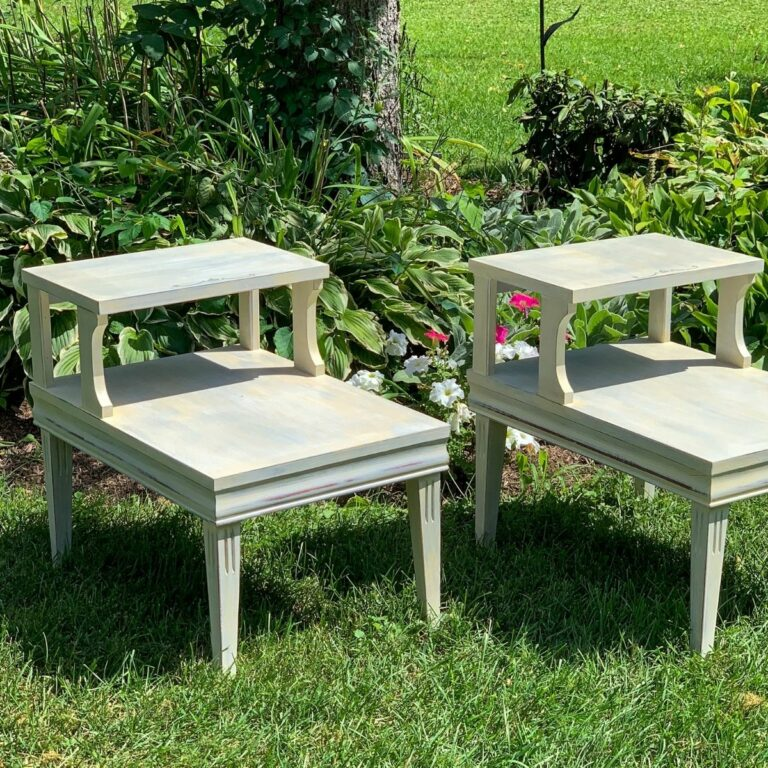 Two end tables on lawn