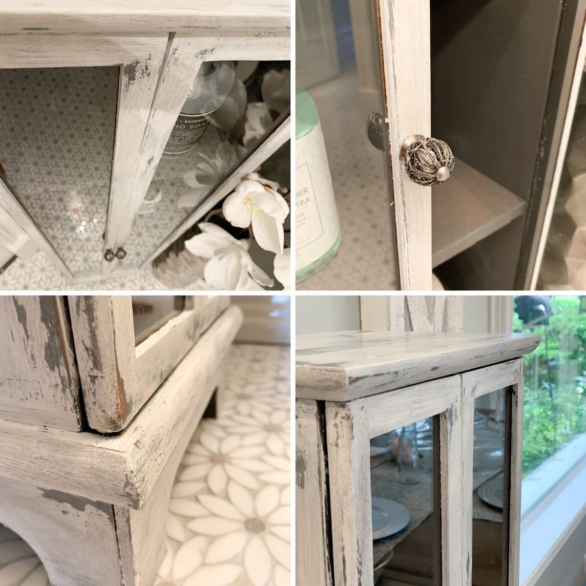Curio cabinet restoration collage