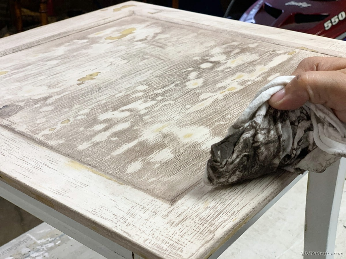 Rubbing cloth on table