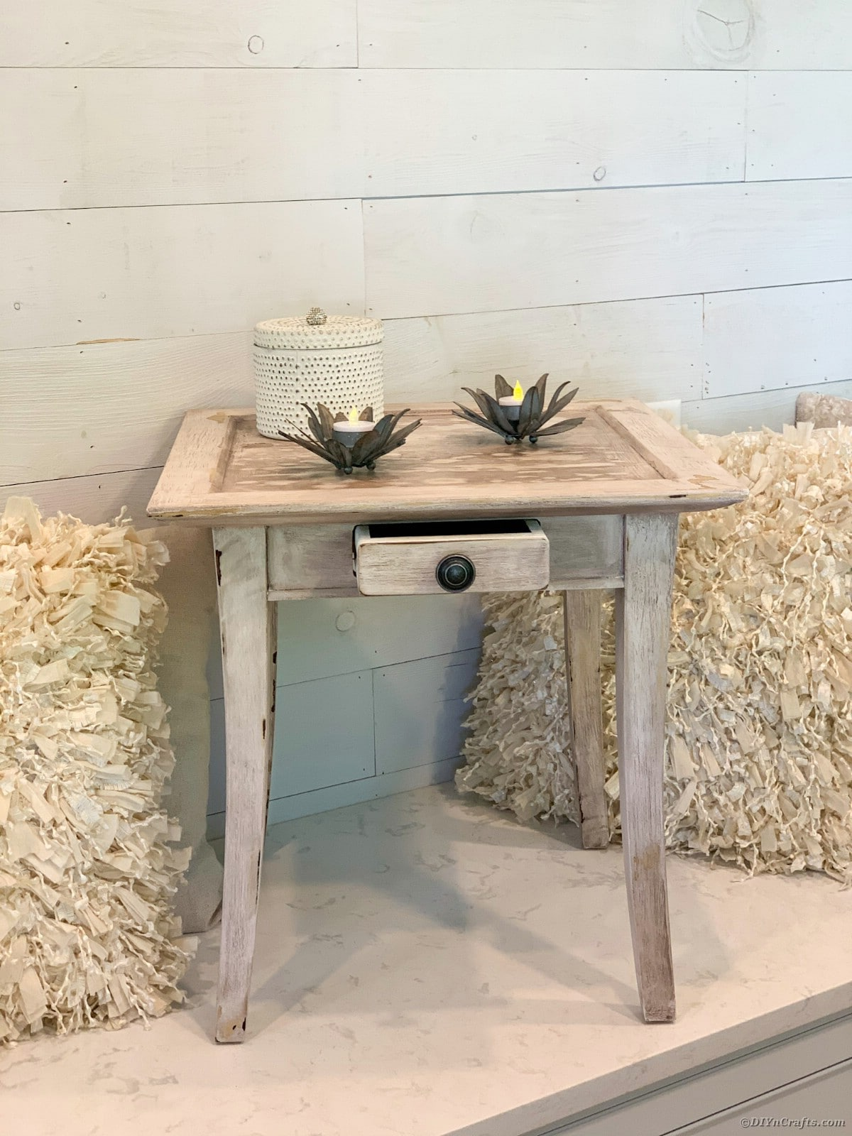 Finished side table with decor
