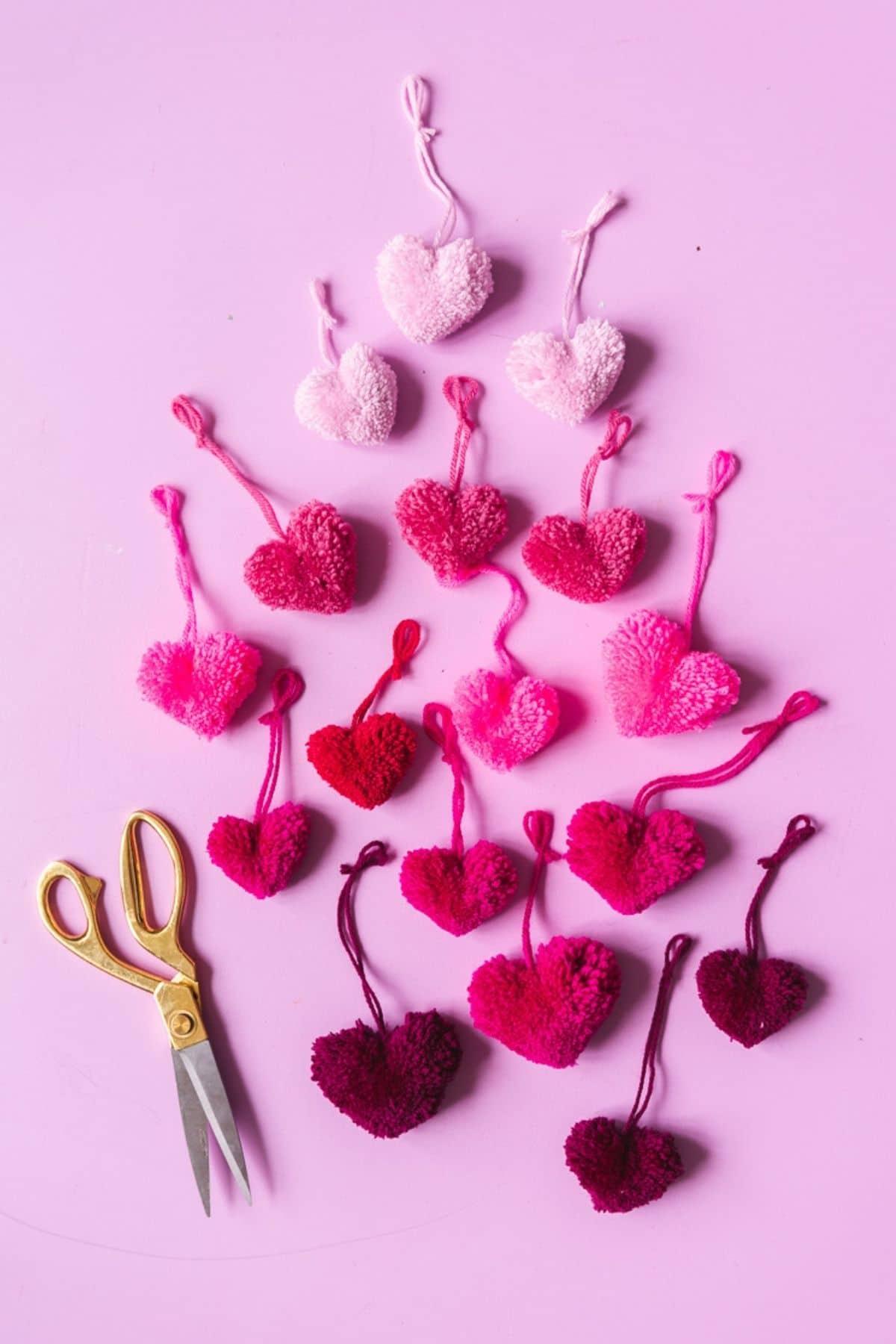 Heart pom poms