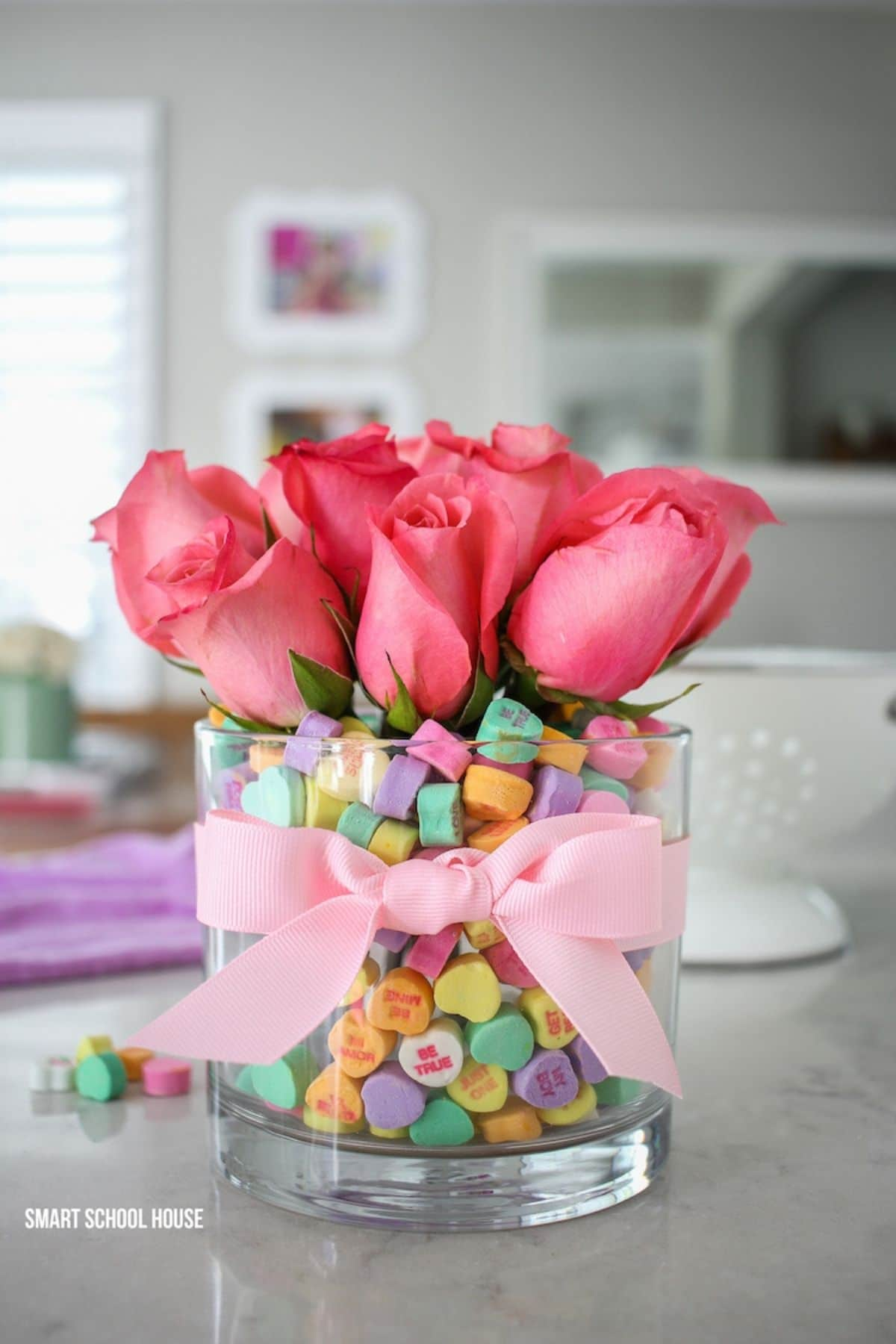 Roses in vase with candy