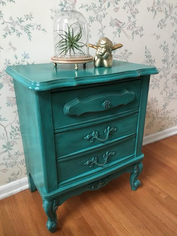 NightstandAccent TableUpcycled FurniturePainted   Etsy