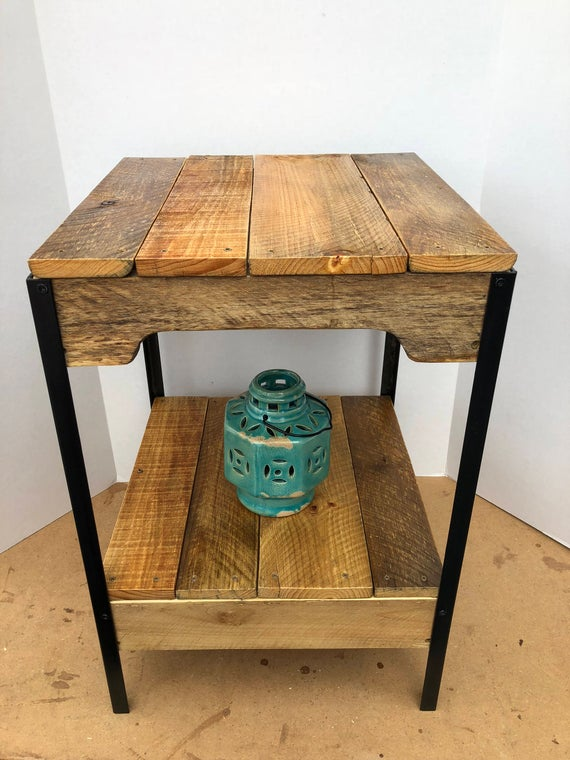 Rustic Pallet Wood and Steel Side Table | Etsy