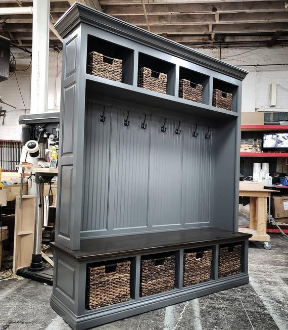 THE DUBLIN GRAY Mudroom Lockers Bench Storage Furniture | Etsy