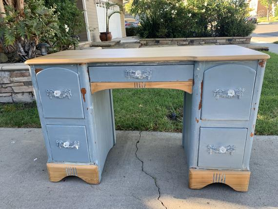 Vintage Blue Super Chippy with Natural Top Desk Student | Etsy