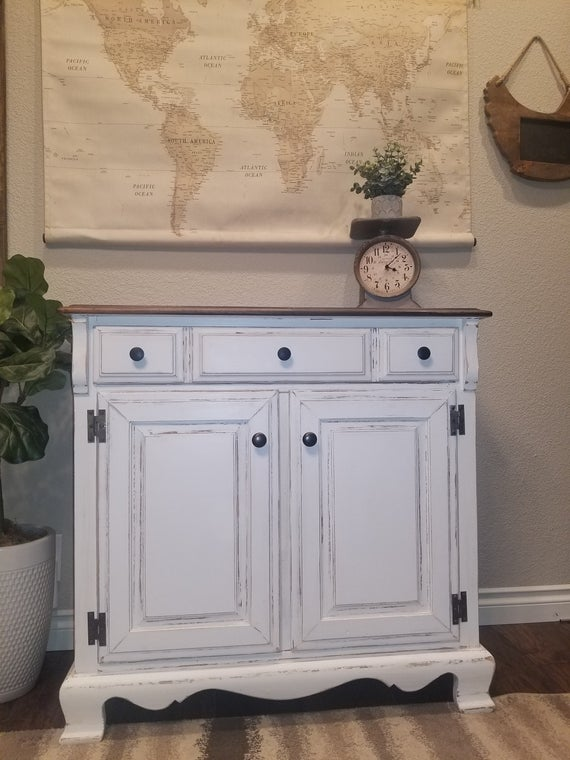 Do Not Purchase Shabby Chic Cabinet/ White Distressed   Etsy