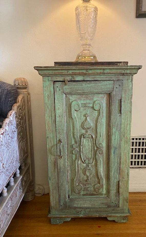 Green old door Nightstand Indian sow Rustic Distressed   Etsy