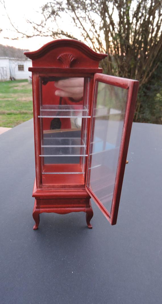 Dollhouse Furniture Curio Cabinet 70's 80's Cherry   Etsy