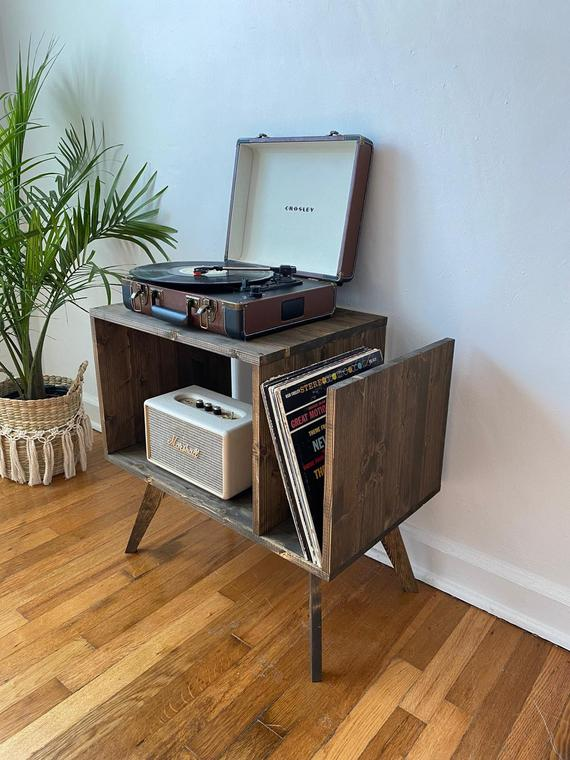 Table For Record Player Stand Cabinet MCM Mid Century Modern   Etsy