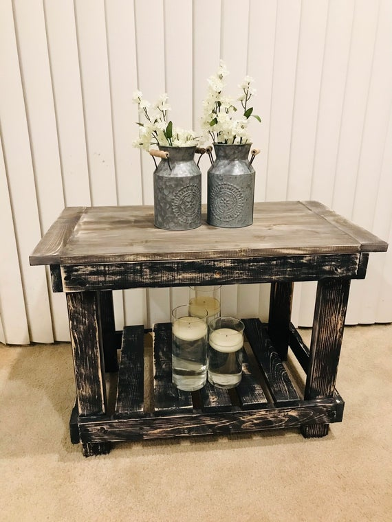 Handmade rustic side table | Etsy