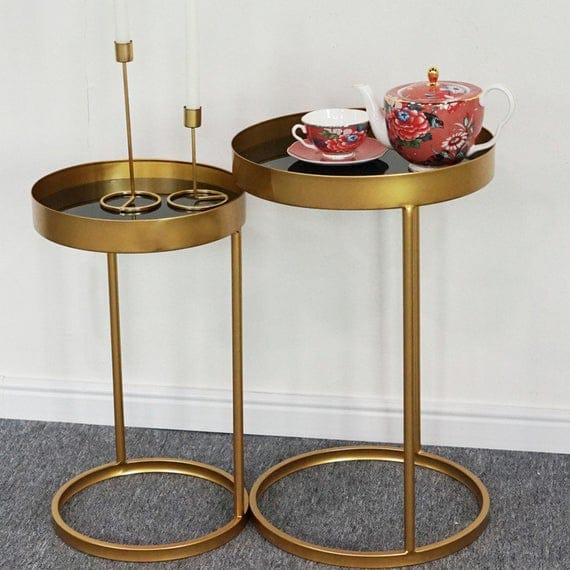 2Pcs Side Table Gold Bedroom Living Room Bedroom Home Decor | Etsy