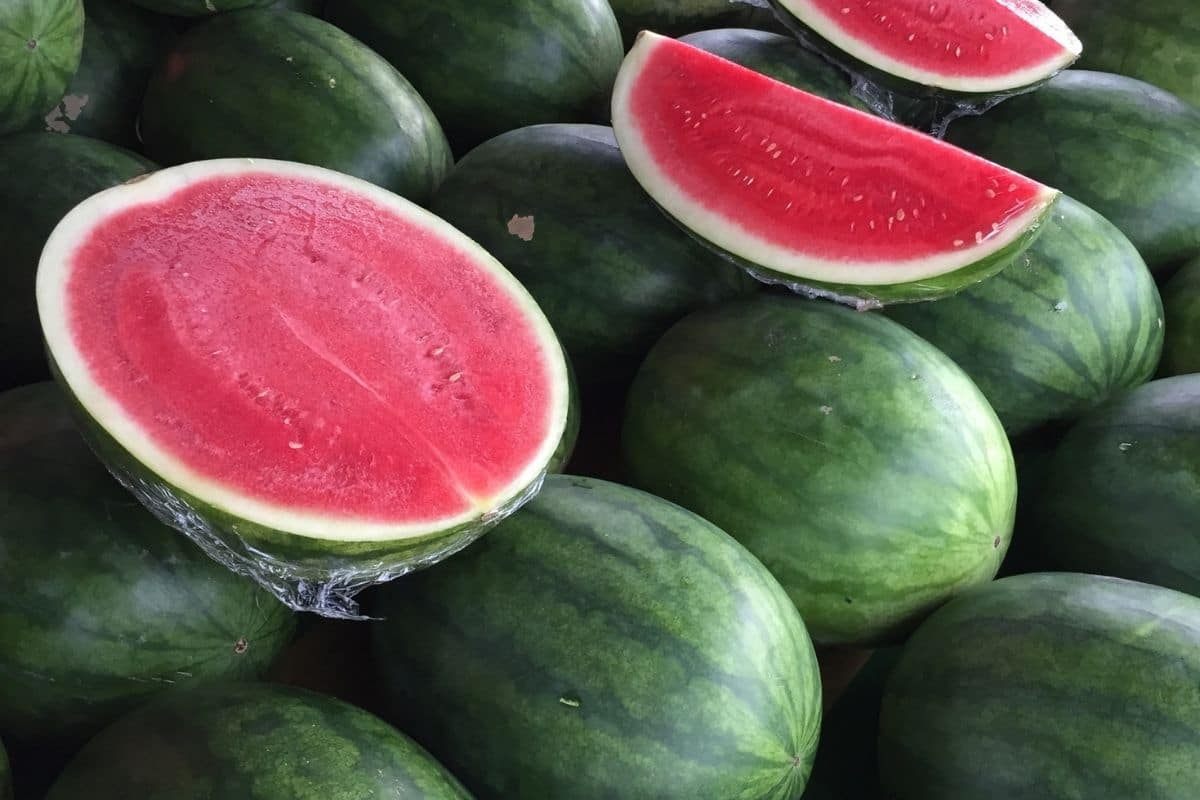 Sliced watermelon display
