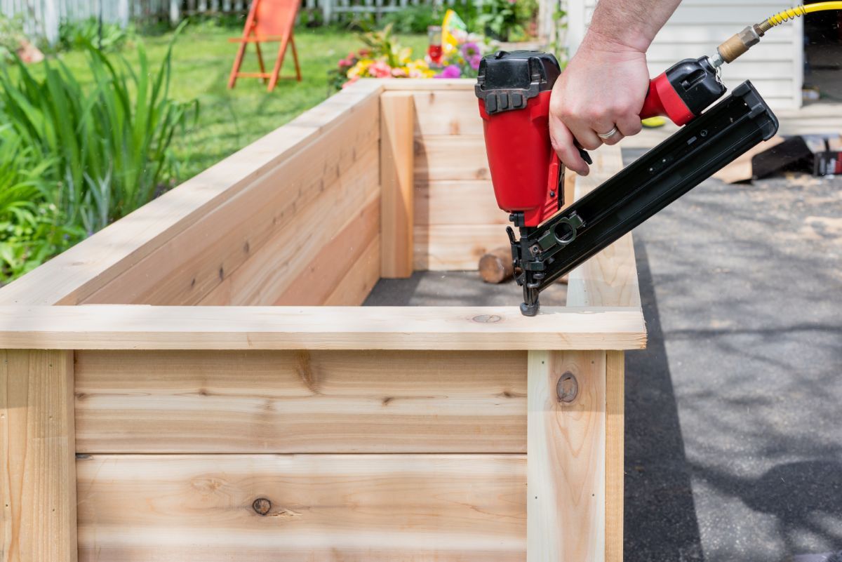constructing or building a raised bed for the vegetable plants