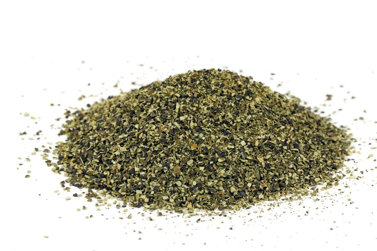 kelp meal fertilizer with white background