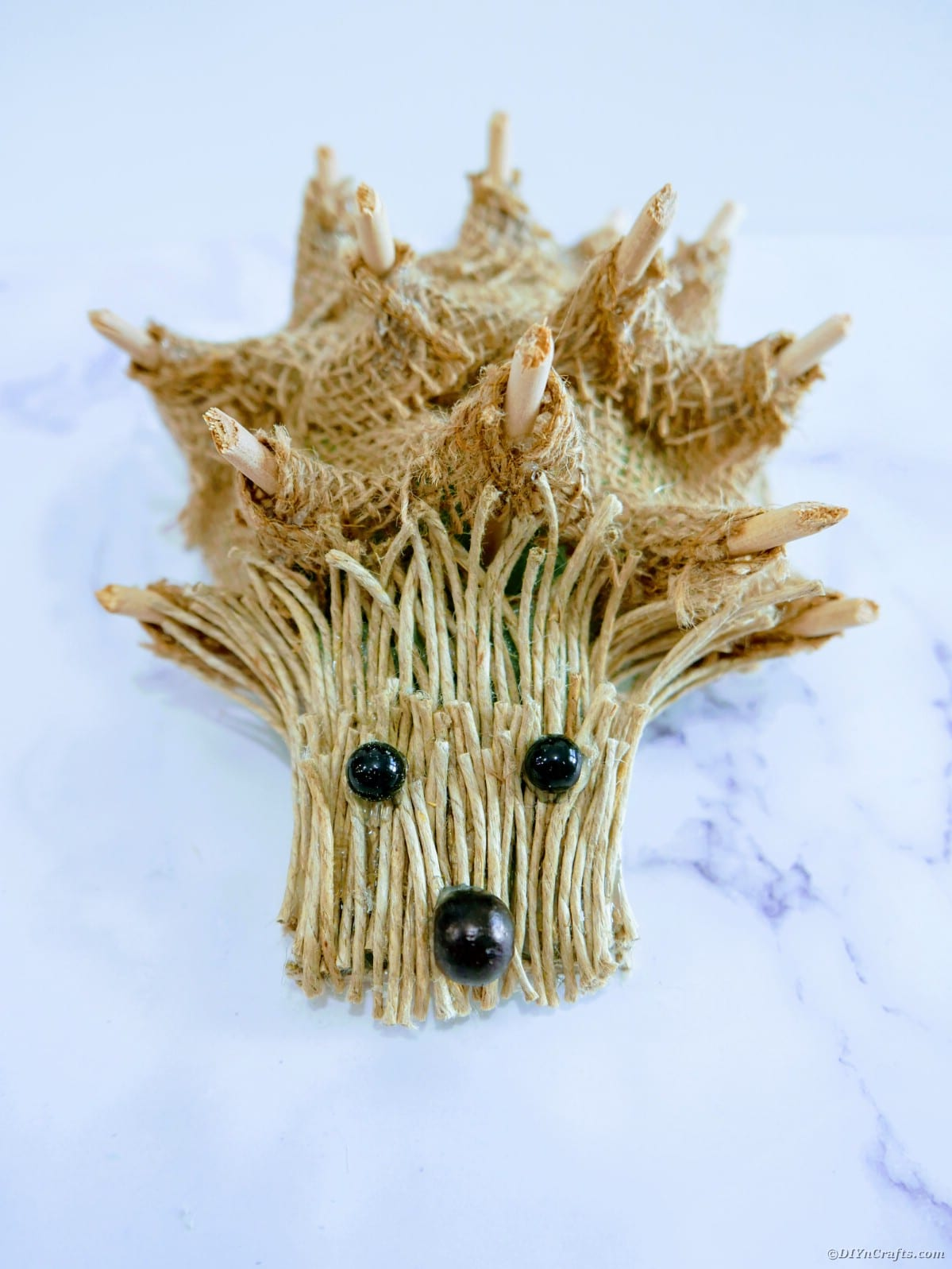 Burlap hedgehog on table