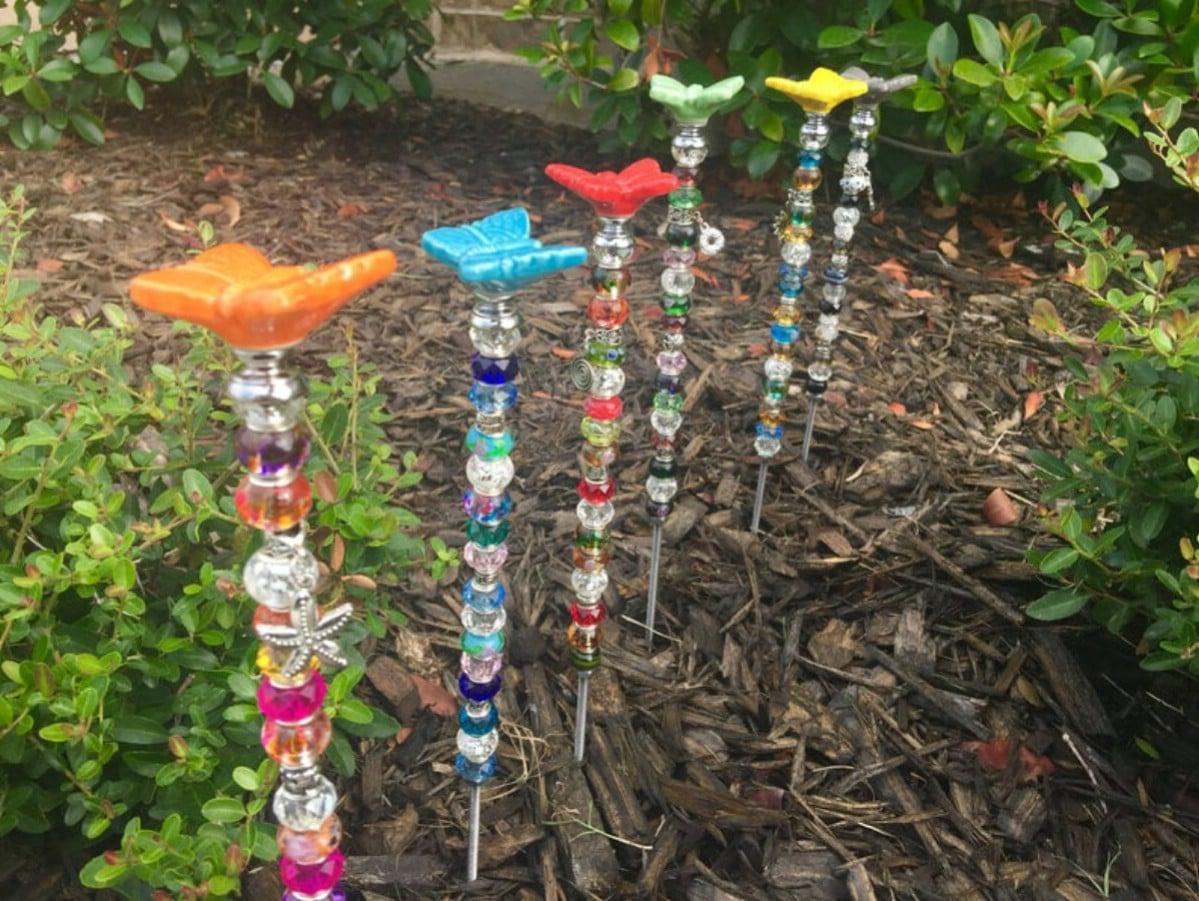 Beaded butterfly garden marker