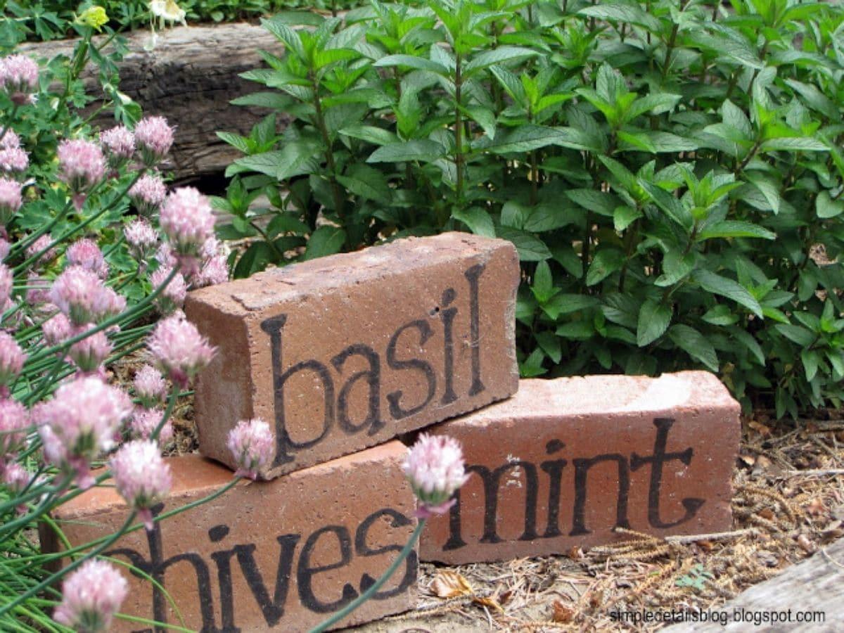 Brick plant makers in garden