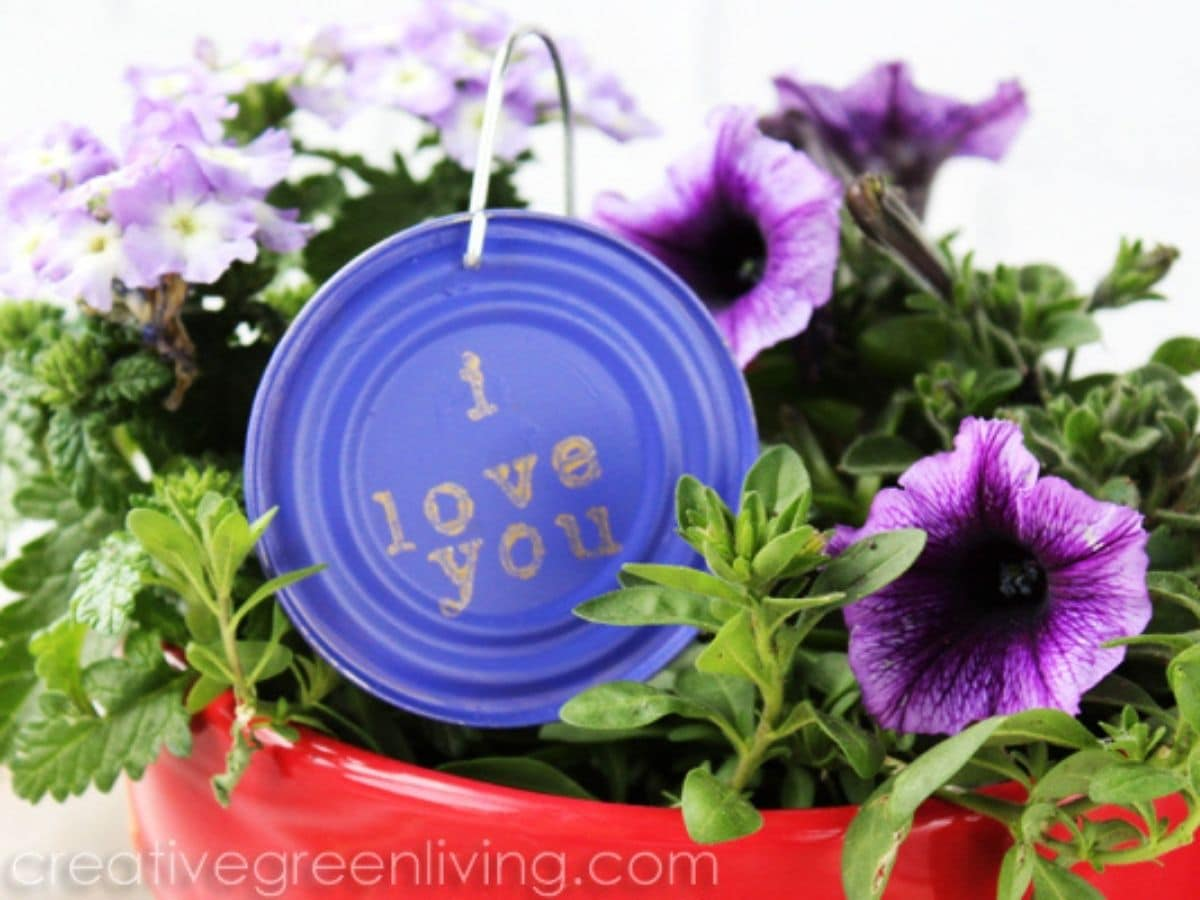 Purple painted tin can lid in potted plant