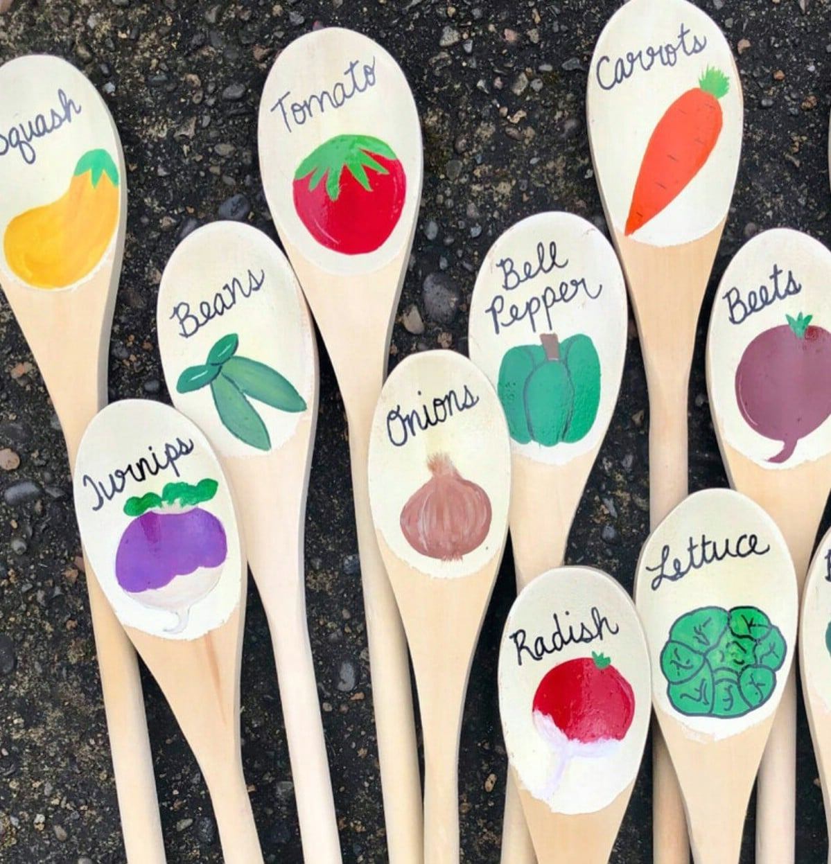 Wooden spoons painted with garden names