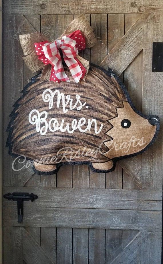 Hedgehog Burlap Door Hanger | Etsy