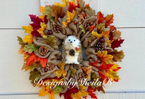 Hedgehog Wreath Fall Burlap Wreath Owl Wreath Fall Wreath | Etsy