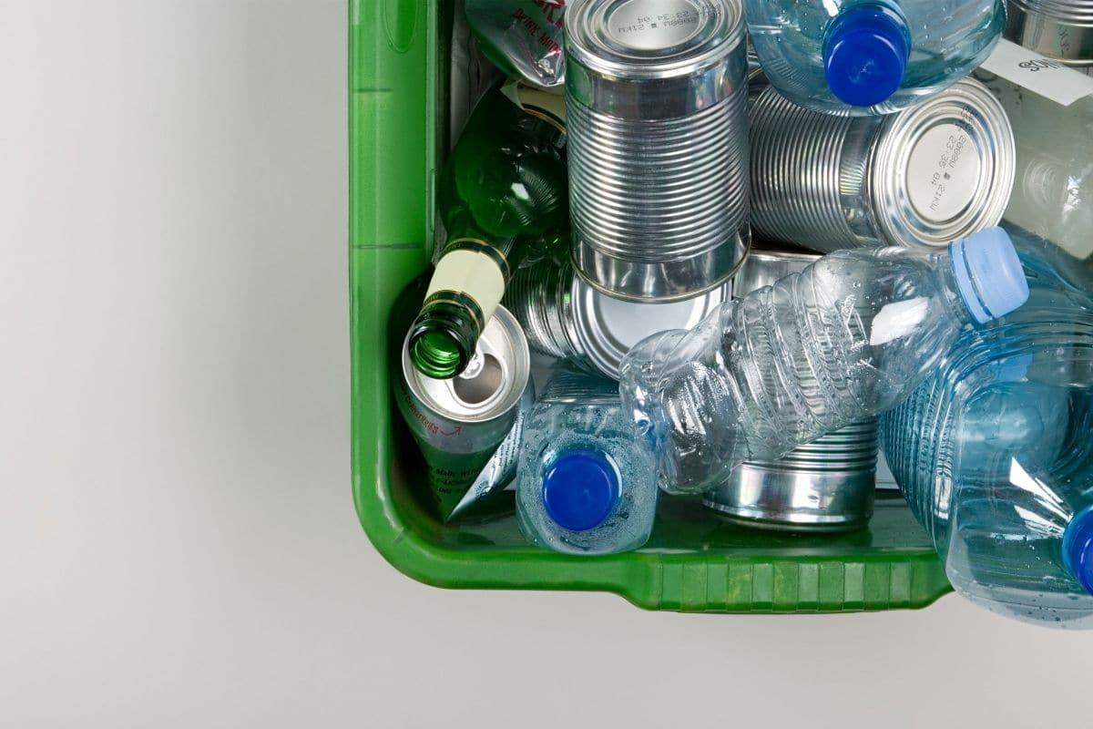 recyclable plastics in a bin