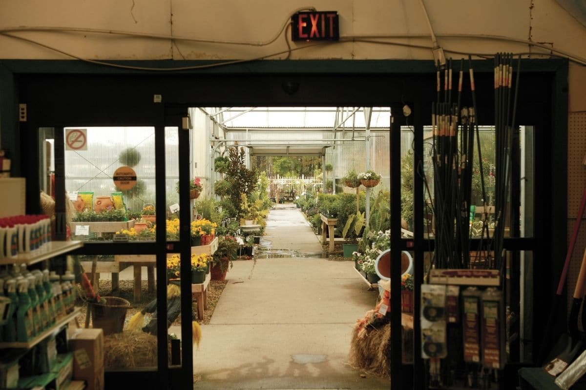 an entrance or exit of a gardening store or center